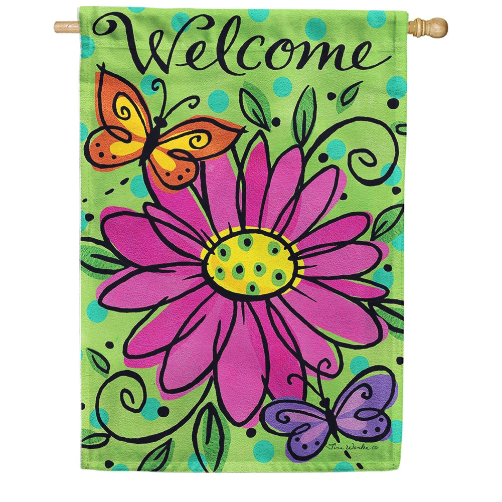 Whimsy Daisy Double Sided House Flag