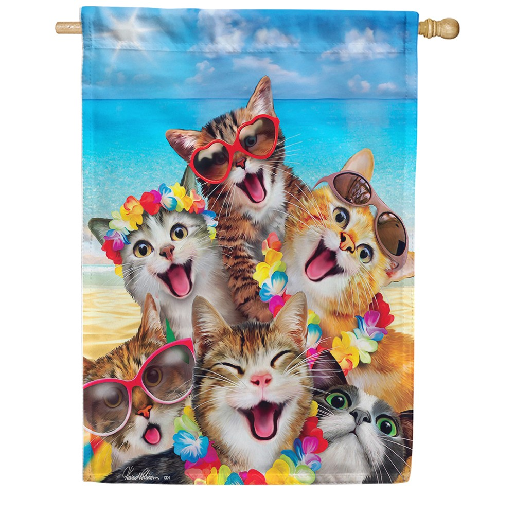 Beach Kittens Double Sided House Flag