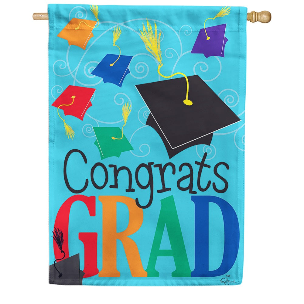 Congrats Grad Double Sided House Flag
