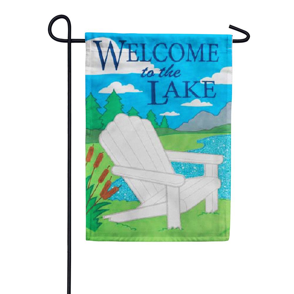 Lake Welcome Appliqued Garden Flag