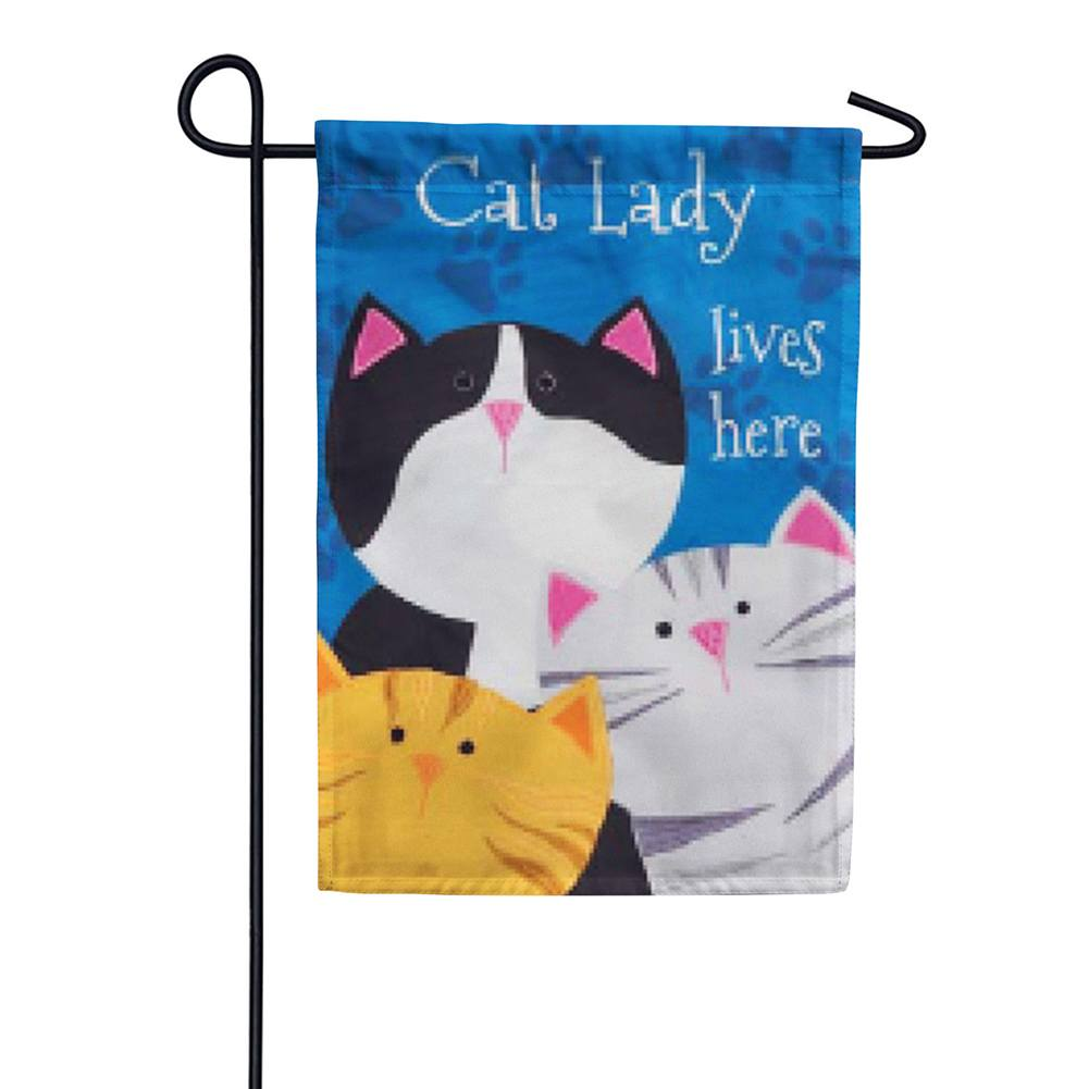 Cat Lady Appliqued Garden Flag