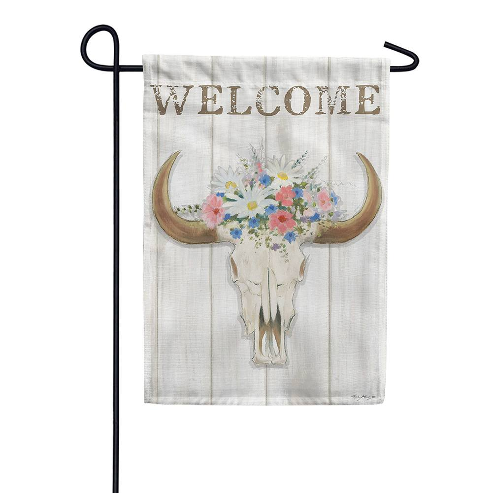 Steer Floral Double Sided Garden Flag