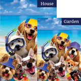 Beach Dogs Double Sided Flags Set (2 Pieces)