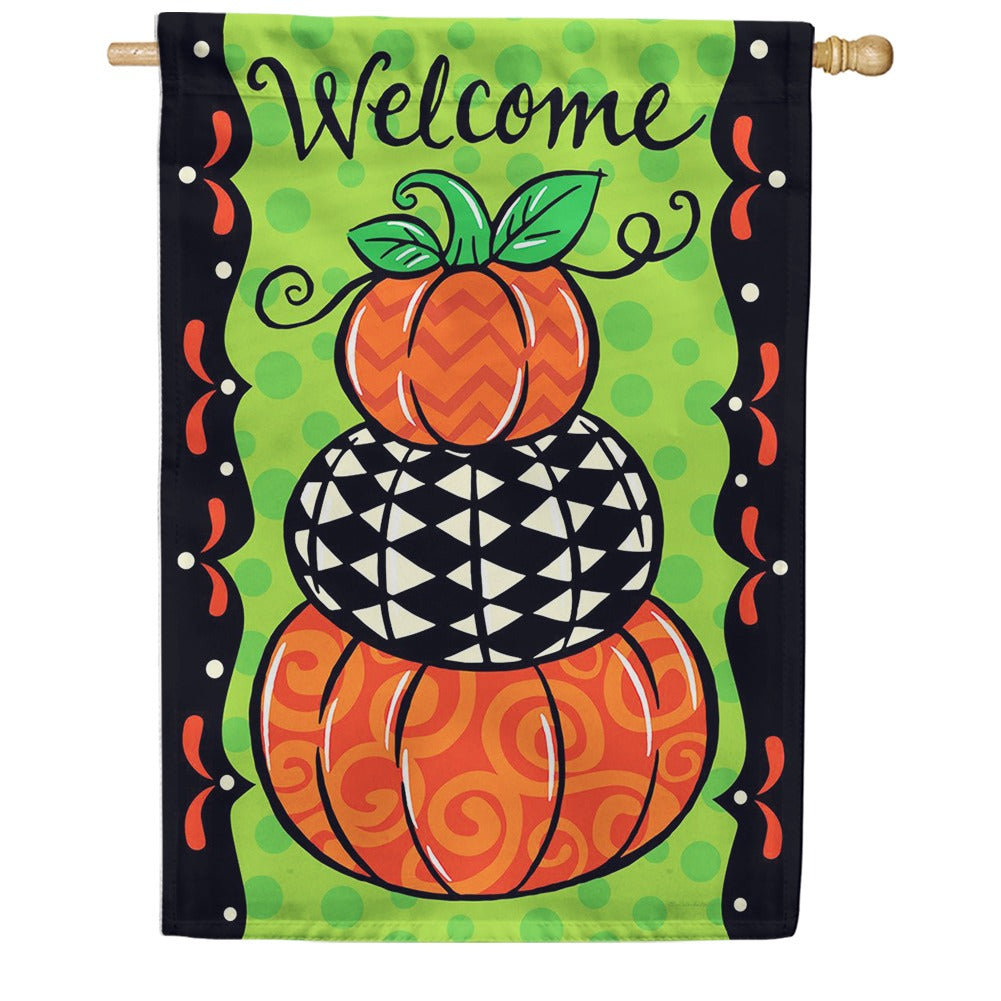Pumpkin Stack Double Sided House Flag