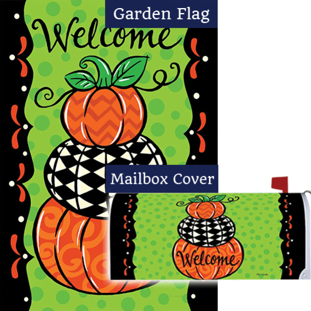 Pumpkin Stack Double Sided Flag Mailwrap Set (2 Pieces)