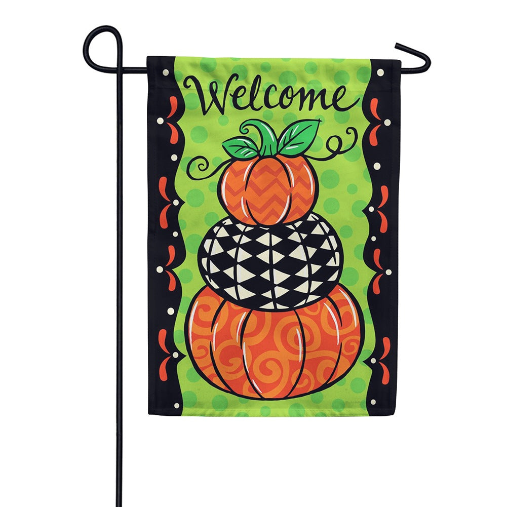 Pumpkin Stack Double Sided Garden Flag