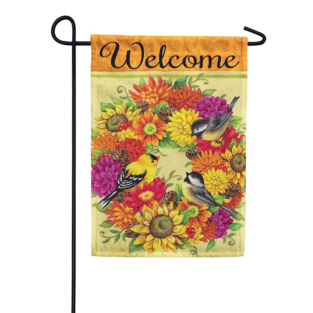 Songbird Wreath Double Sided Garden Flag