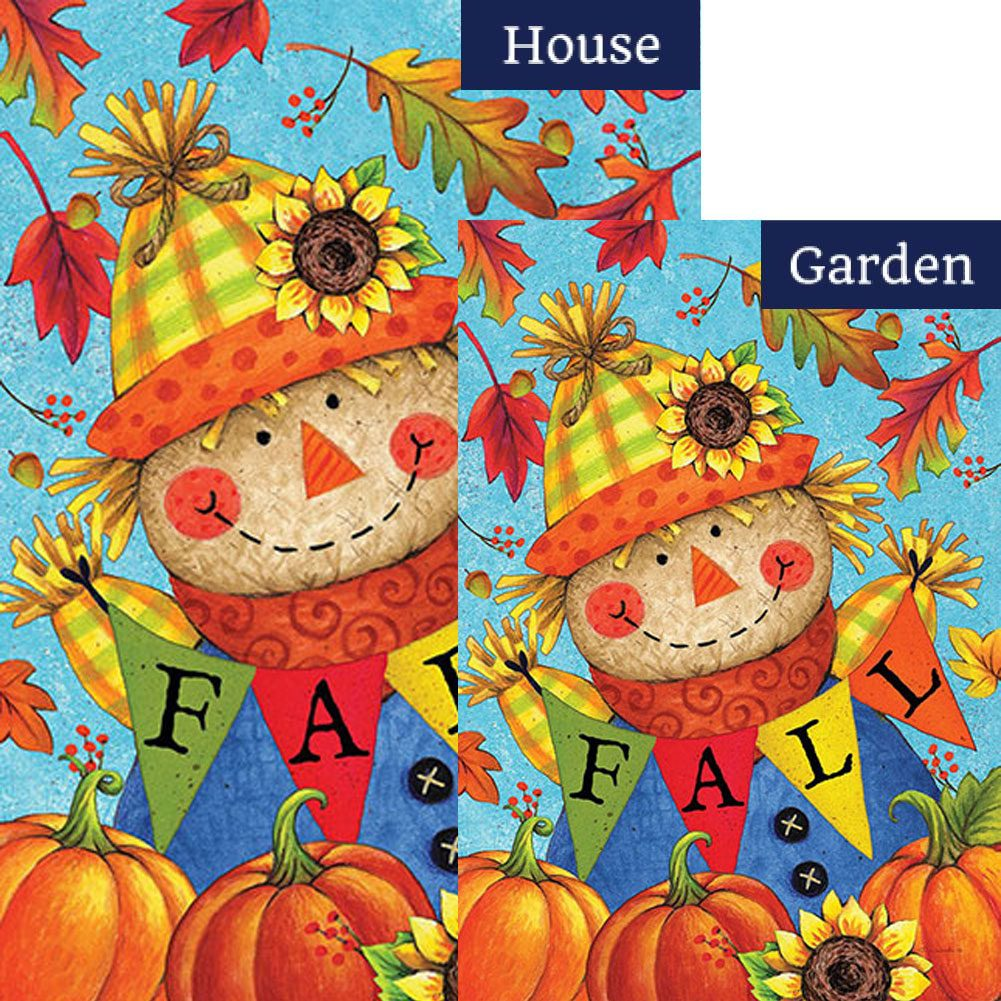 Fall Scarecrow Double Sided Flags Set (2 Pieces)