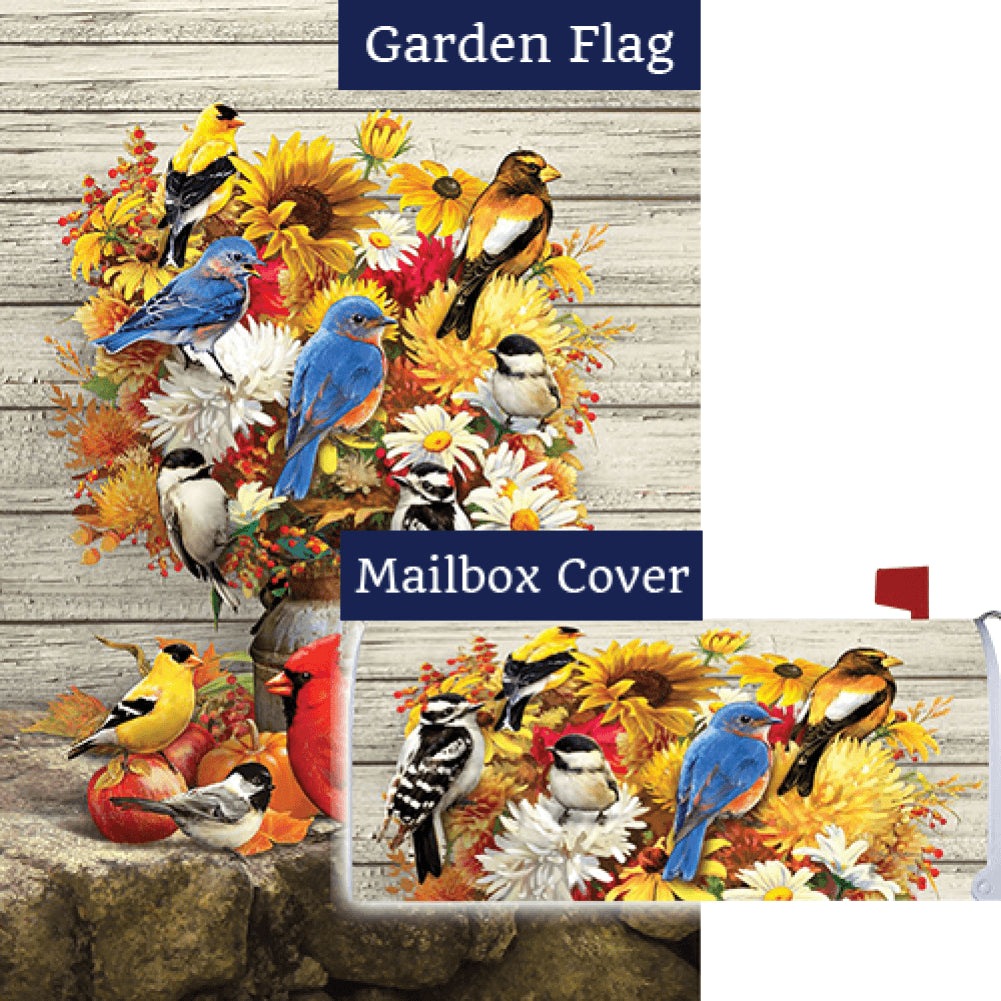 Fall Flowers & Birds Double Sided Flag Mailwrap Set (2 Pieces)