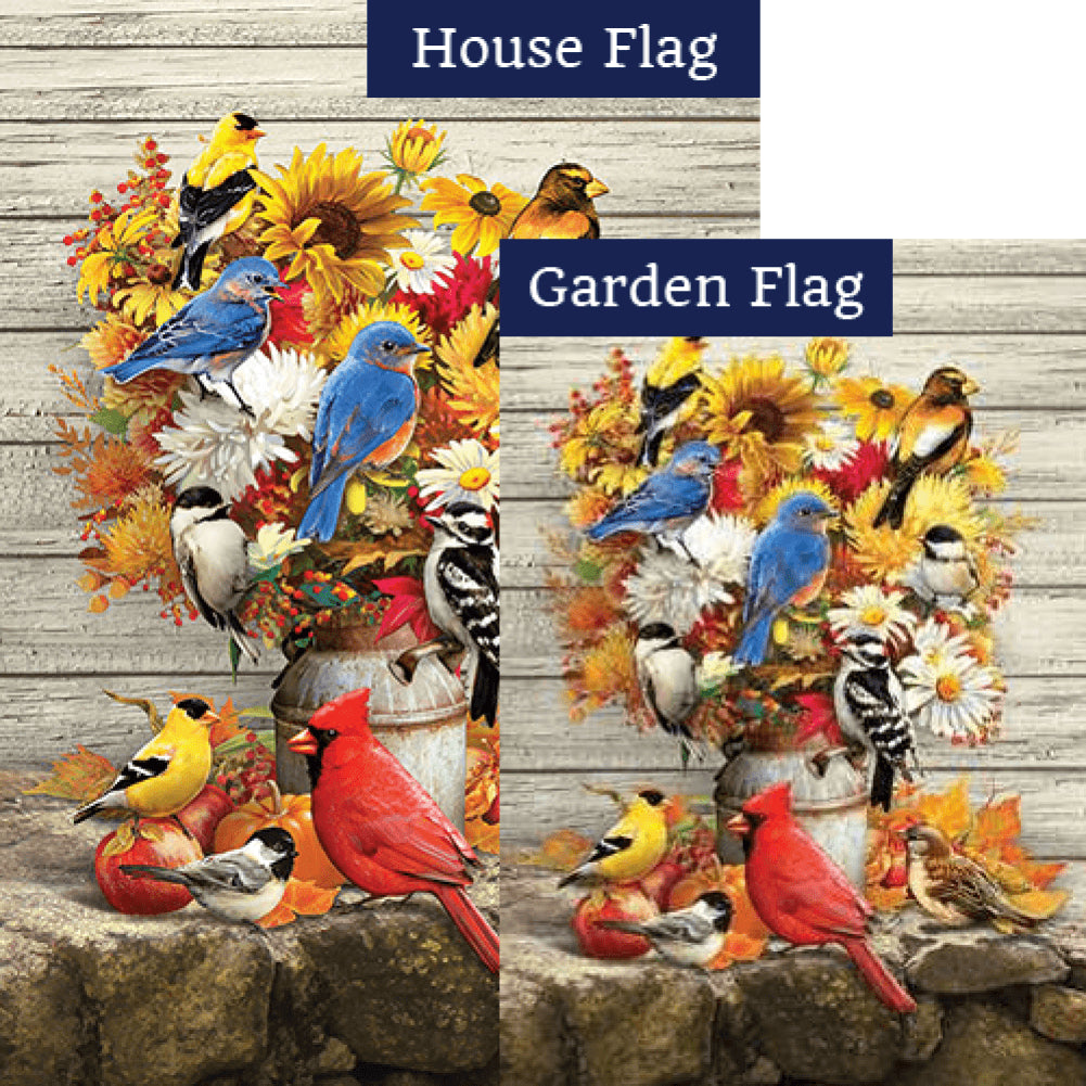 Fall Flowers & Birds Double Sided Flags Set (2 Pieces)