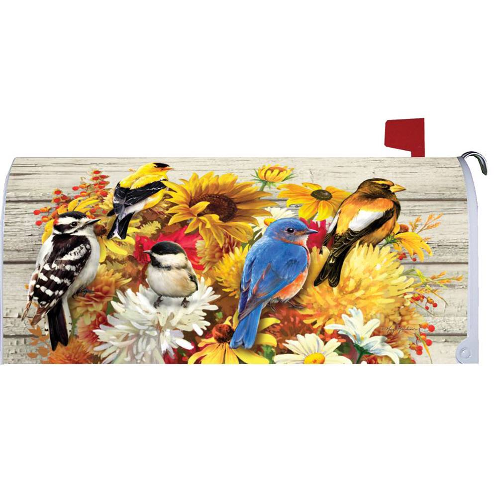Fall Flowers & Birds Mailbox Cover