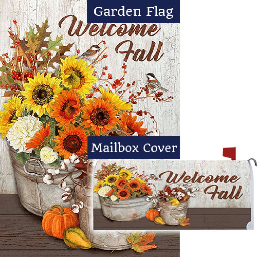 Sunflowers & Cotton Double Sided Flag Mailwrap Set (2 Pieces)