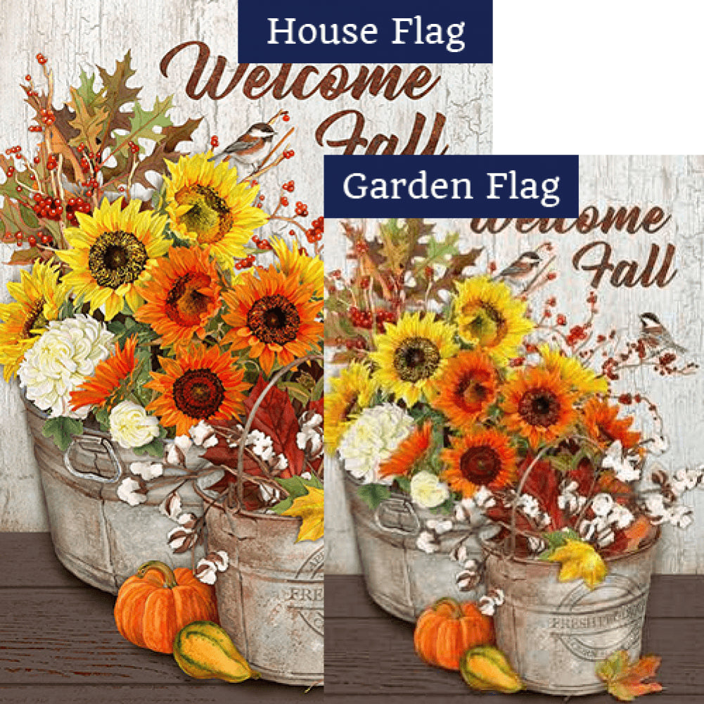 Sunflowers & Cotton Double Sided Flags Set (2 Pieces)