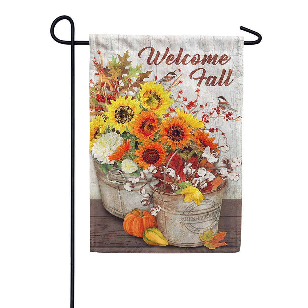 Sunflowers & Cotton Double Sided Garden Flag