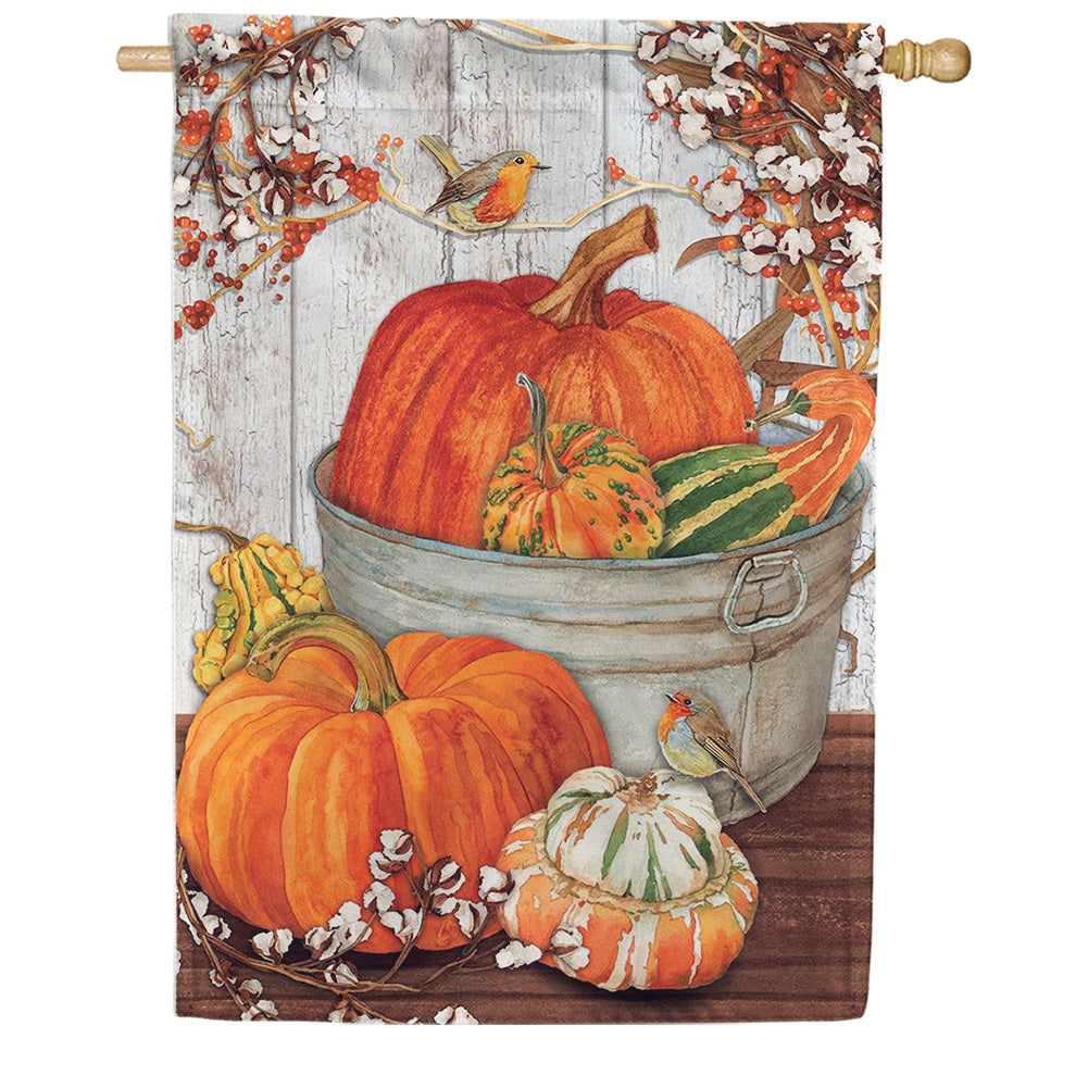 Pumpkins & Cotton Double Sided House Flag