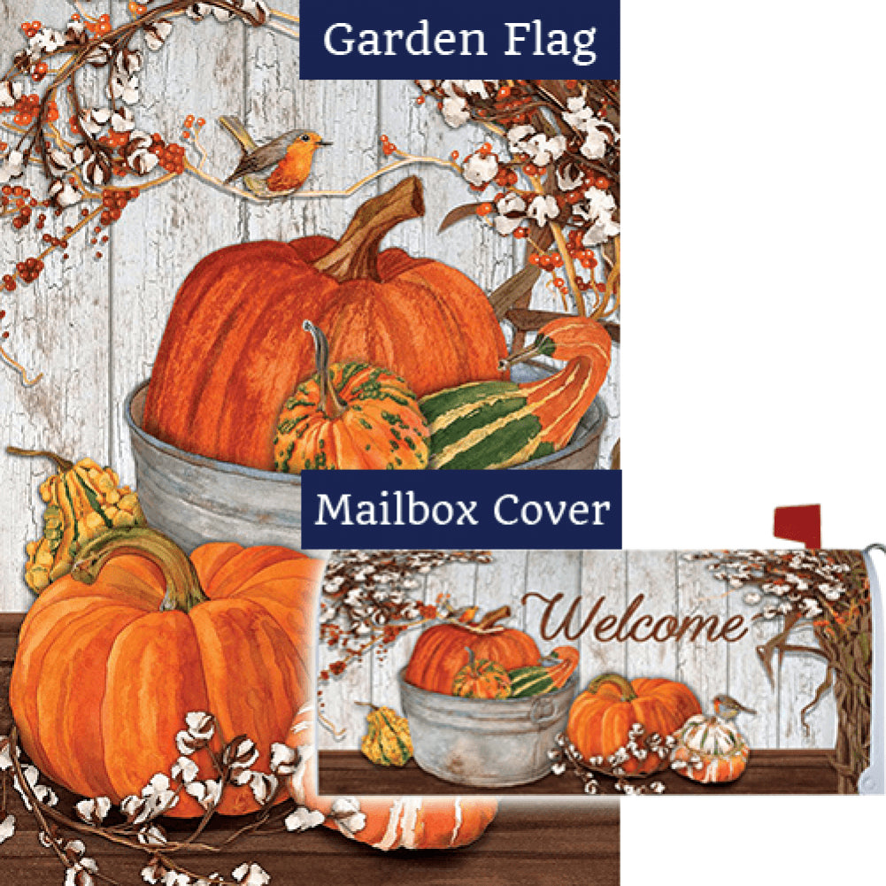Pumpkins & Cotton Double Sided Flag Mailwrap Set (2 Pieces)