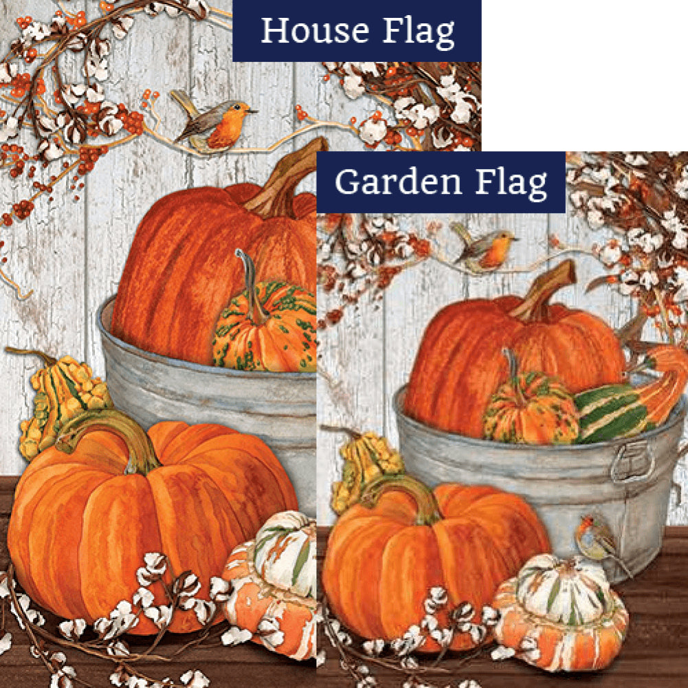 Pumpkins & Cotton Double Sided Flags Set (2 Pieces)