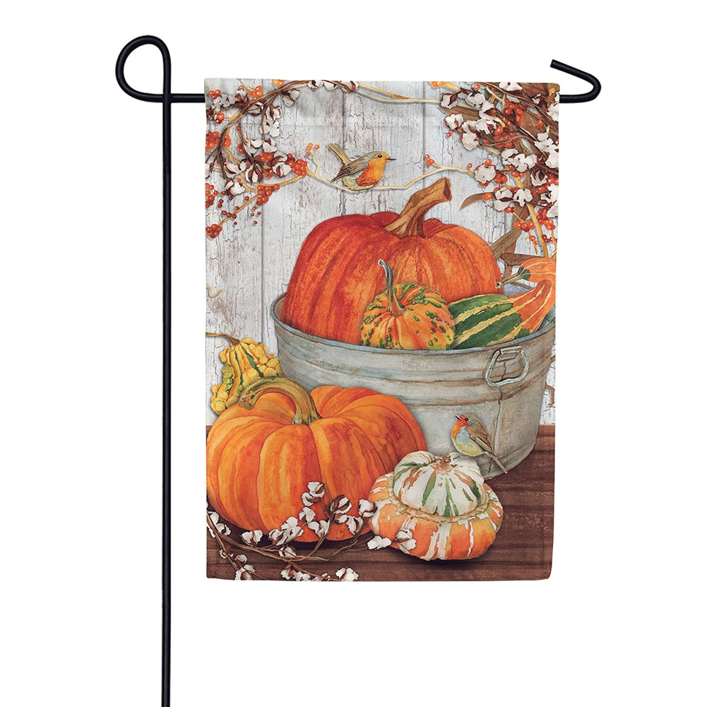 Pumpkins & Cotton Double Sided Garden Flag
