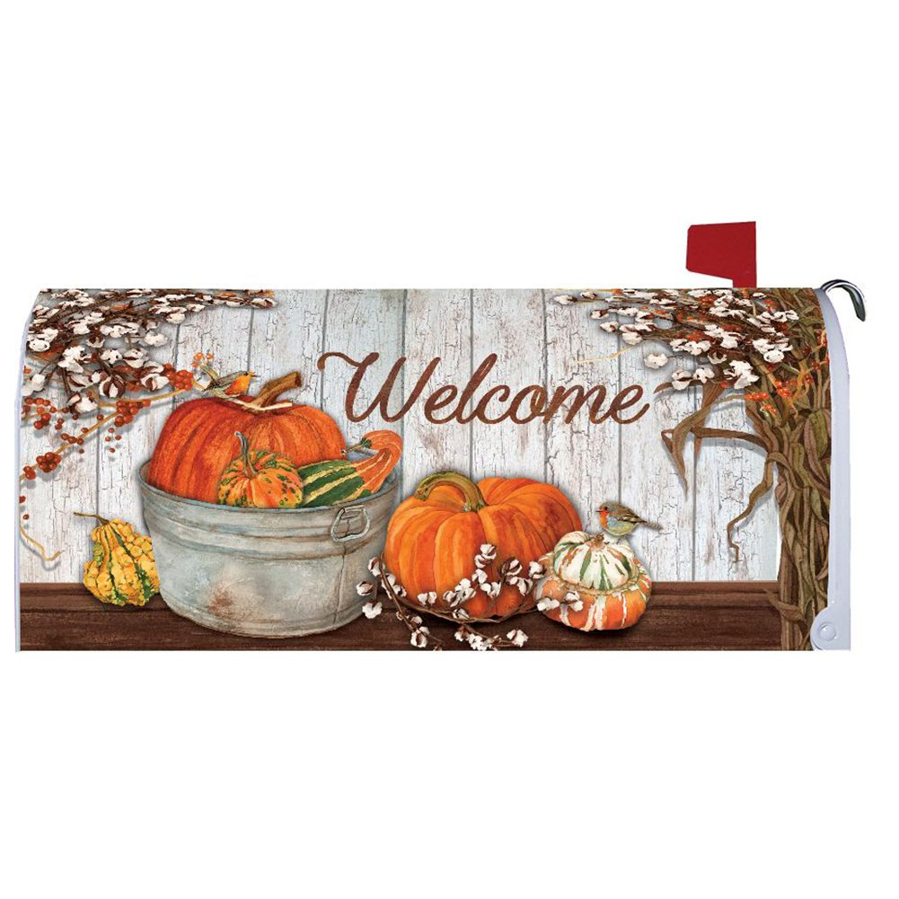 Pumpkins & Cotton Mailbox Cover