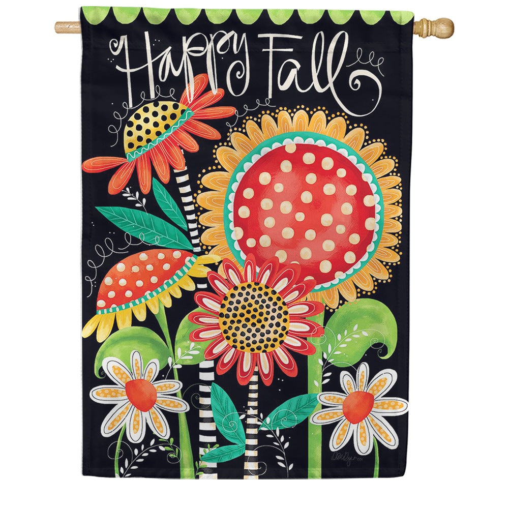 Happy Fall Flowers Double Sided House Flag