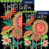 Happy Fall Flowers Double Sided Flags Set (2 Pieces)