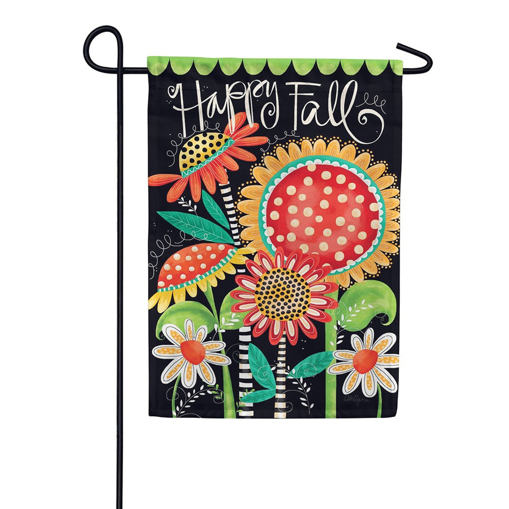 Happy Fall Flowers Double Sided Garden Flag