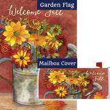 Fall Watering Can Floral Double Sided Flag Mailwrap Set (2 Pieces)