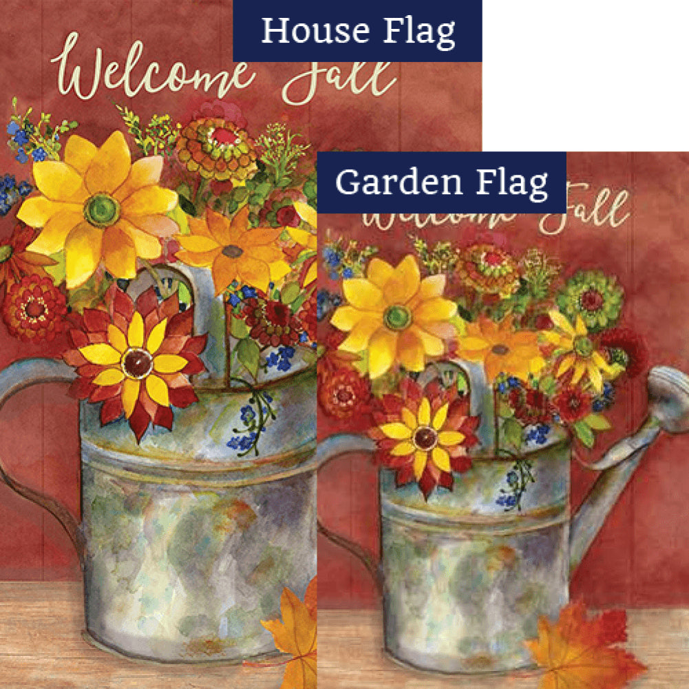 Fall Watering Can Floral Double Sided Flags Set (2 Pieces)