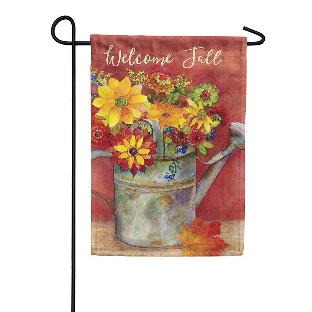 Fall Watering Can Floral Double Sided Garden Flag