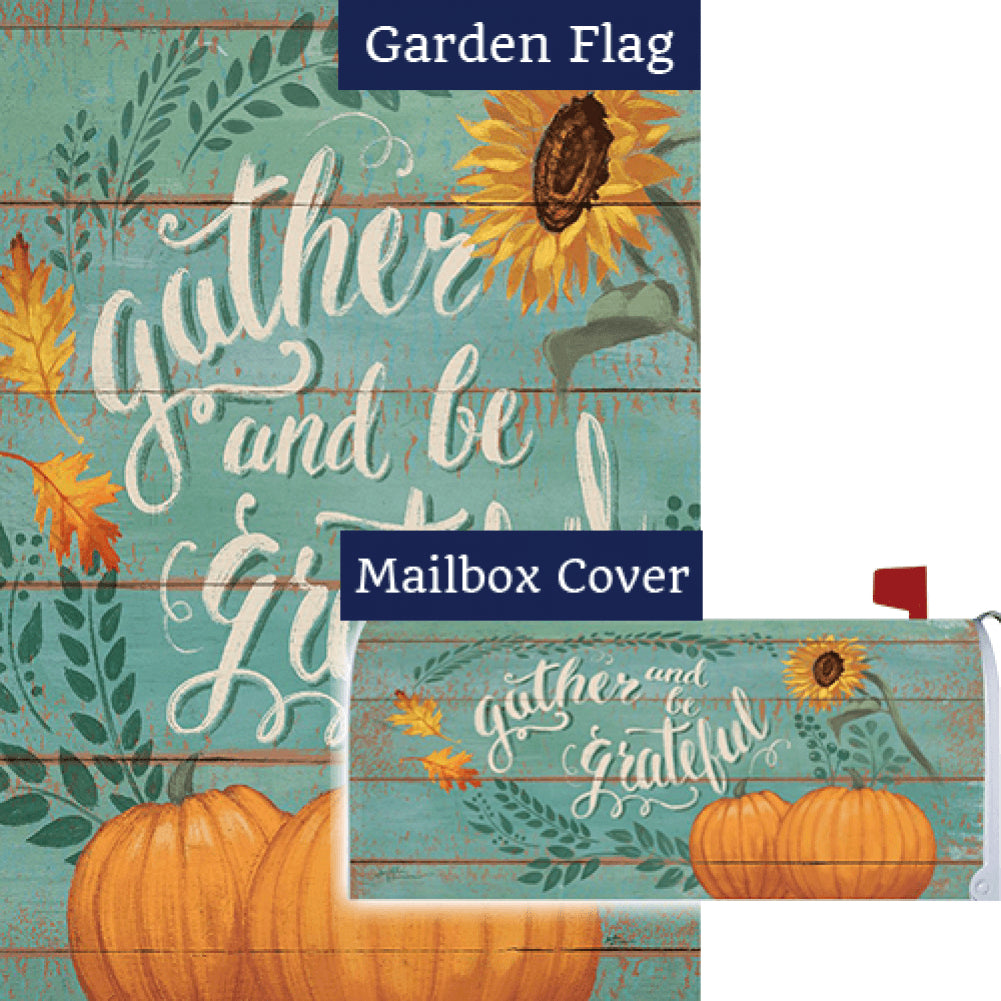 Gather And Be Grateful Double Sided Flag Mailwrap Set (2 Pieces)