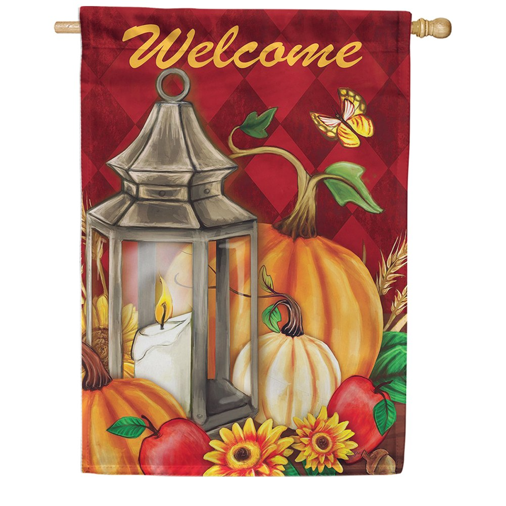 Pumpkin Lantern Double Sided House Flag