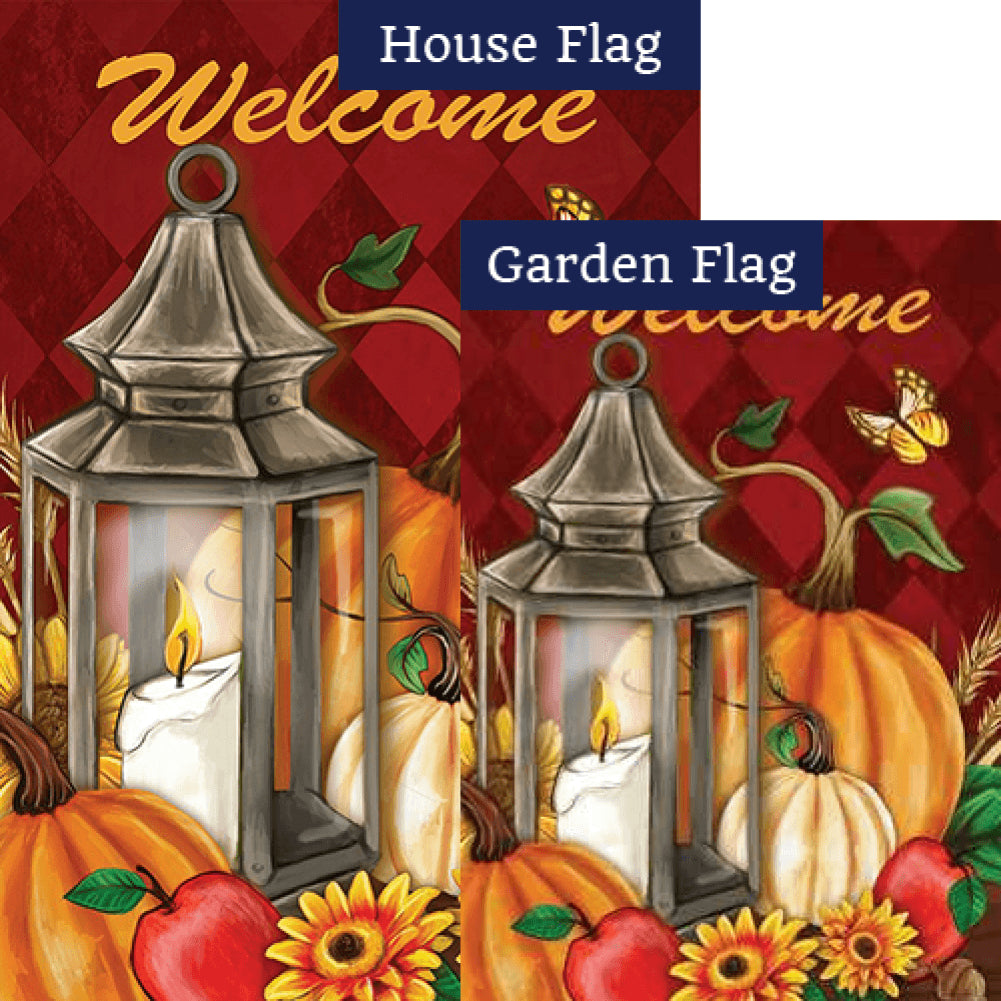 Pumpkin Lantern Double Sided Flags Set (2 Pieces)