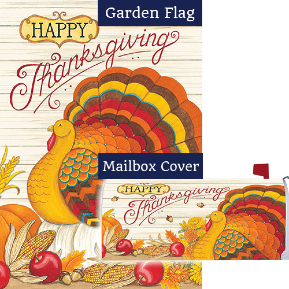 Pumpkin Turkey Double Sided Flag Mailwrap Set (2 Pieces)