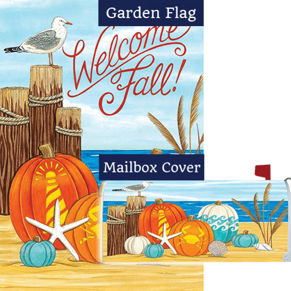 Coastal Pumpkins Double Sided Flag Mailwrap Set (2 Pieces)