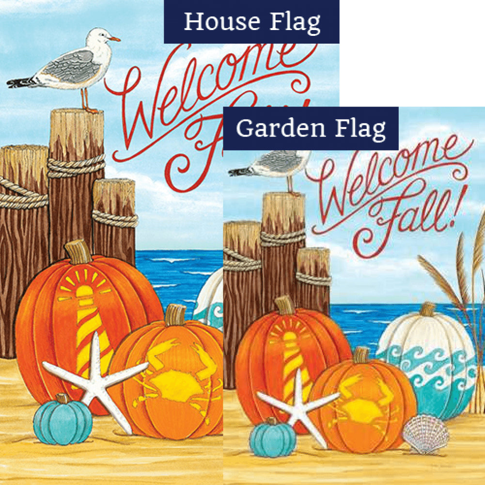 Coastal Pumpkins Double Sided Flags Set (2 Pieces)