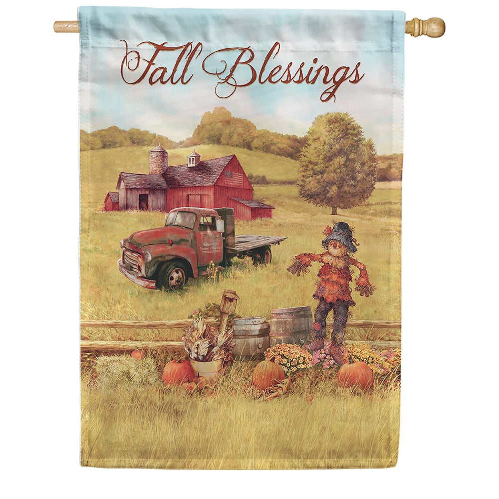 Scarecrow & Truck Double Sided House Flag
