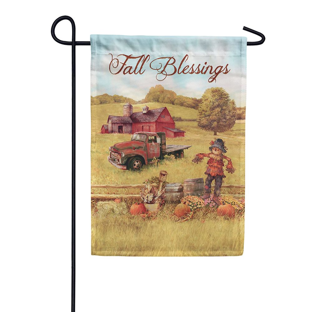 Scarecrow & Truck Double Sided Garden Flag