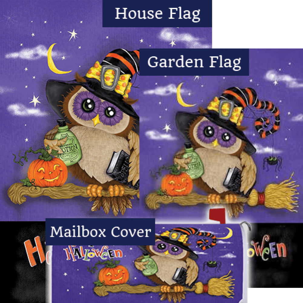 Halloween Owl Broom Double Sided Yard Makeover Set (3 Pieces)