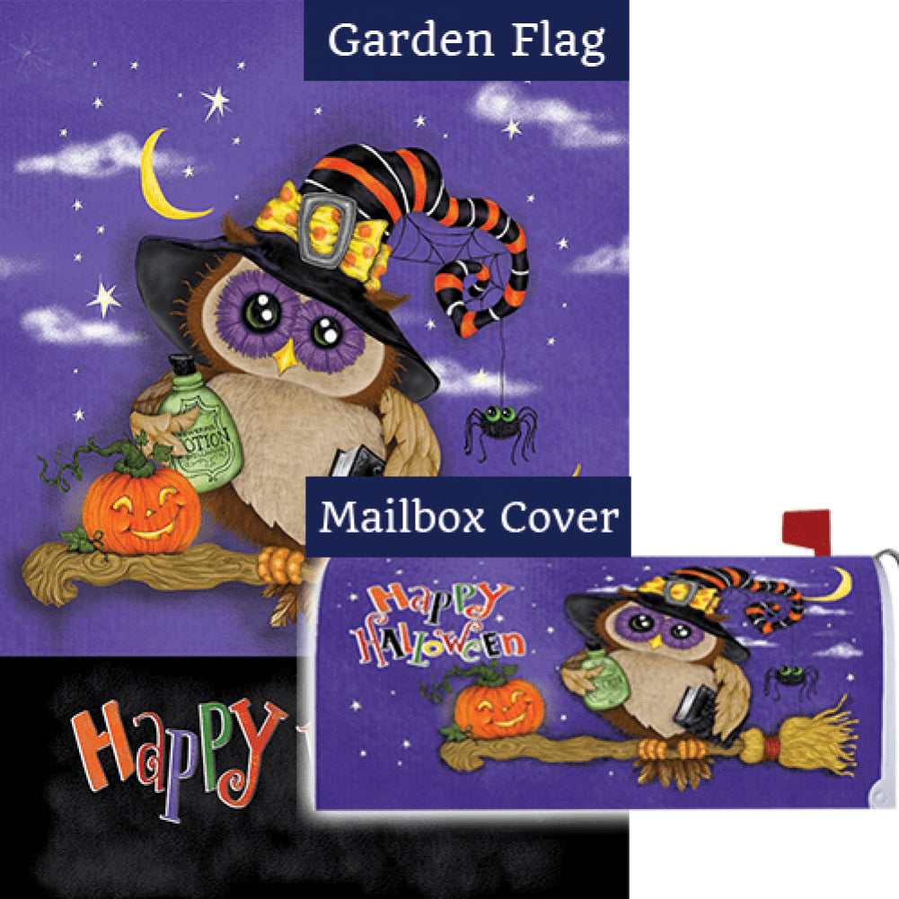 Halloween Owl Broom Double Sided Flag Mailwrap Set (2 Pieces)