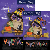 Halloween Owl Broom Double Sided Flags Set (2 Pieces)