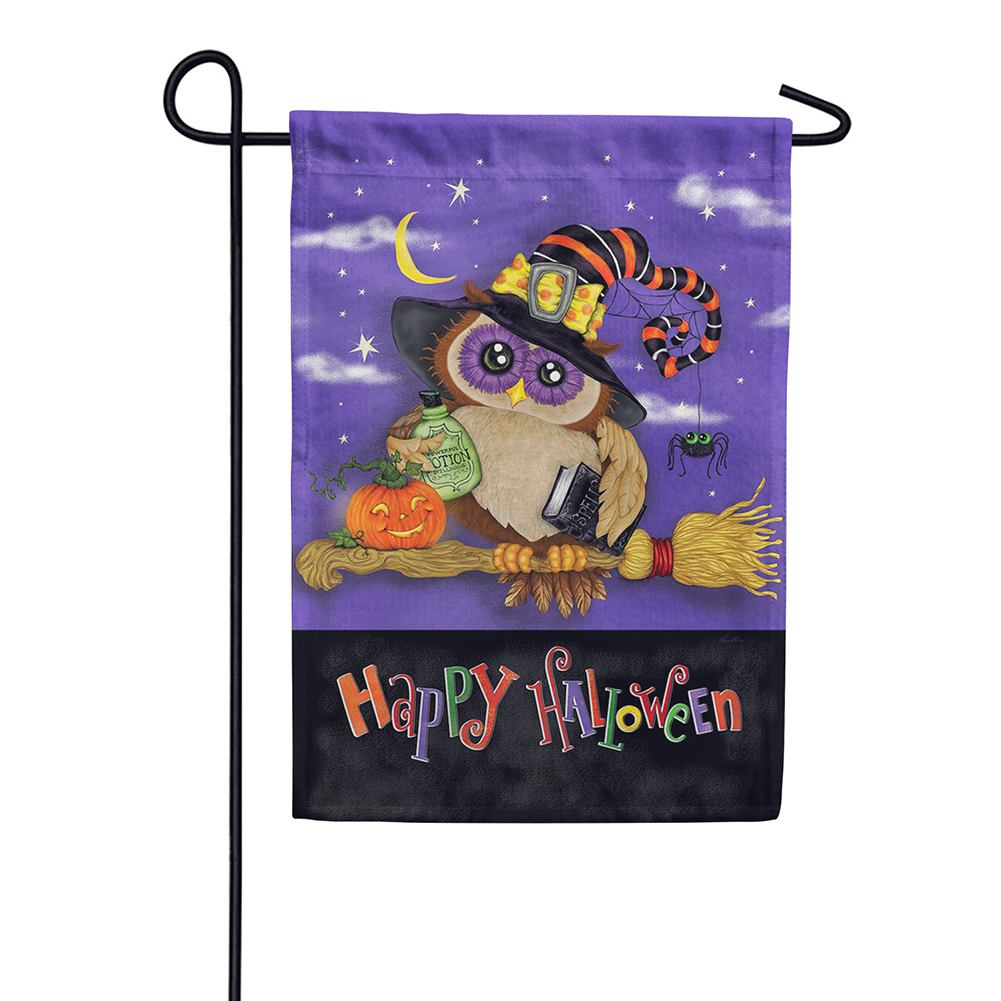 Halloween Owl Broom Double Sided Garden Flag