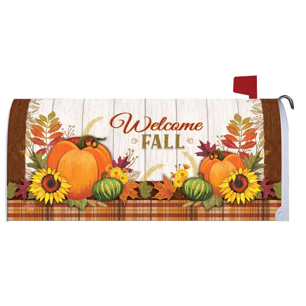 Pumpkin & Plaid Mailbox Cover