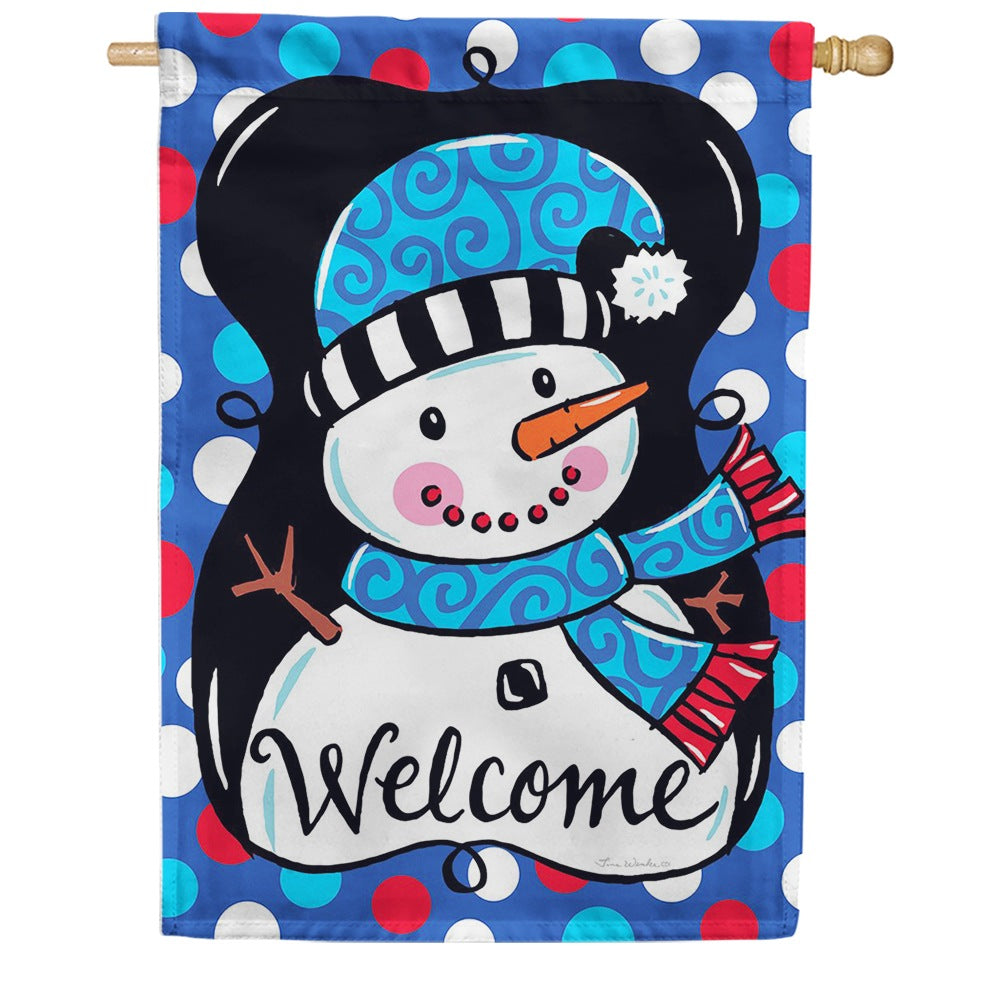 Whimsy Snowman Black Double Sided House Flag
