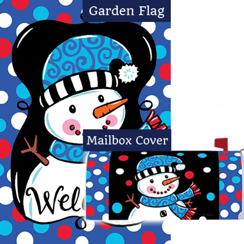 Whimsy Snowman Black Double Sided Flag Mailwrap Set (2 Pieces)