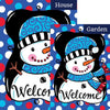 Whimsy Snowman Black Double Sided Flags Set (2 Pieces)