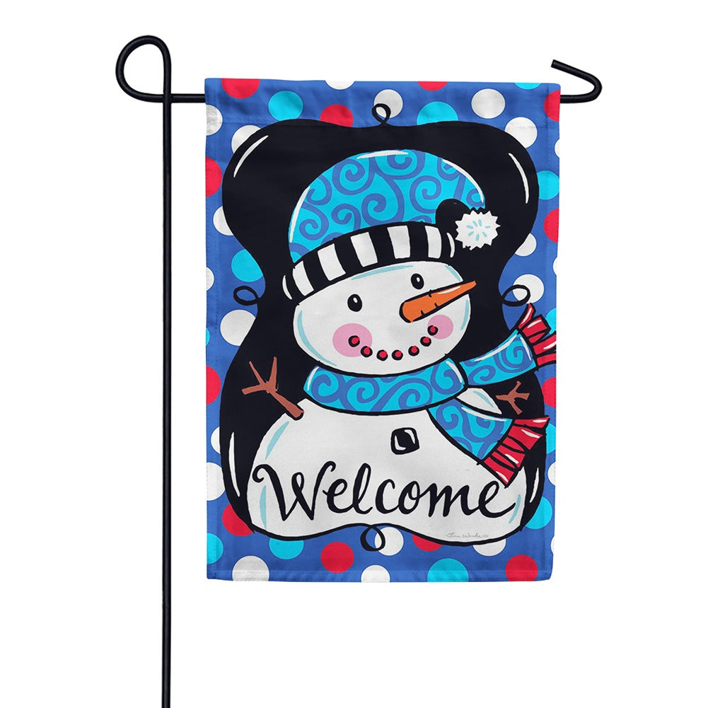 Whimsy Snowman Black Double Sided Garden Flag