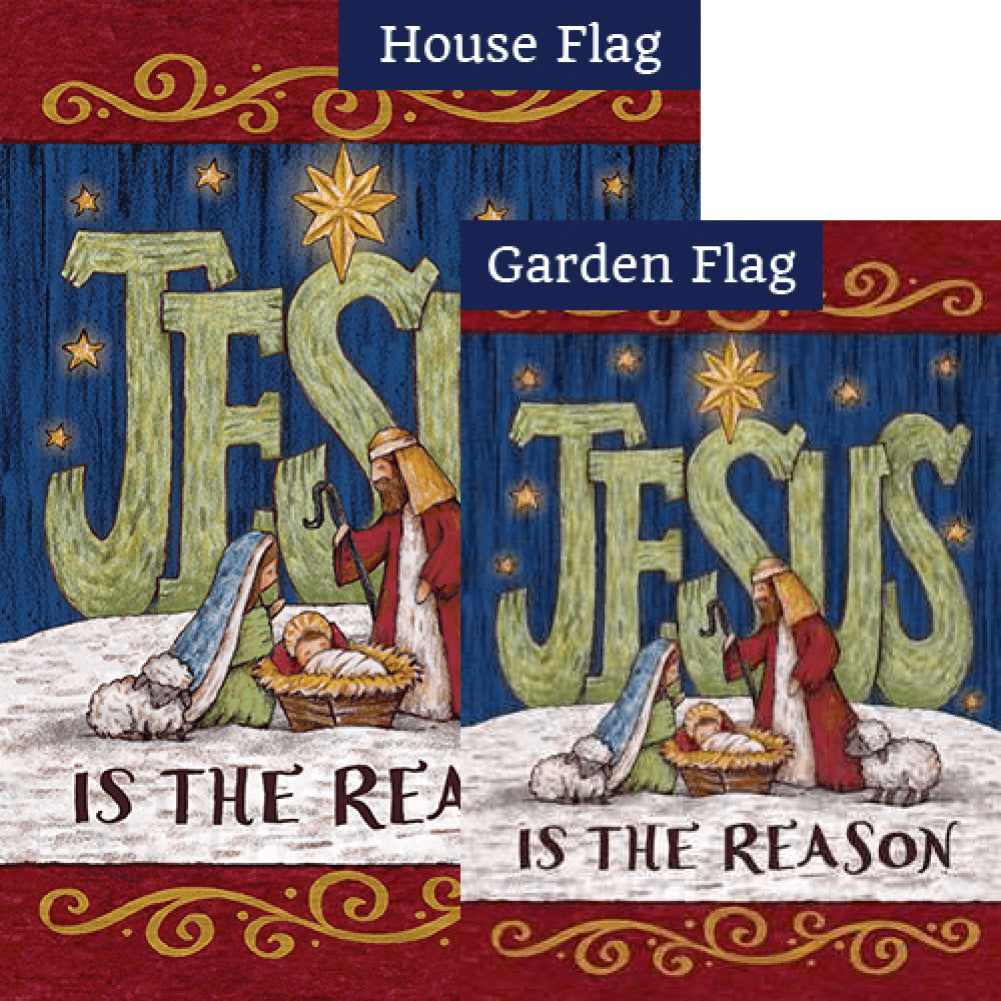 Jesus Is The Reason By Tina Wenke Double Sided Flags Set (2 Pieces)