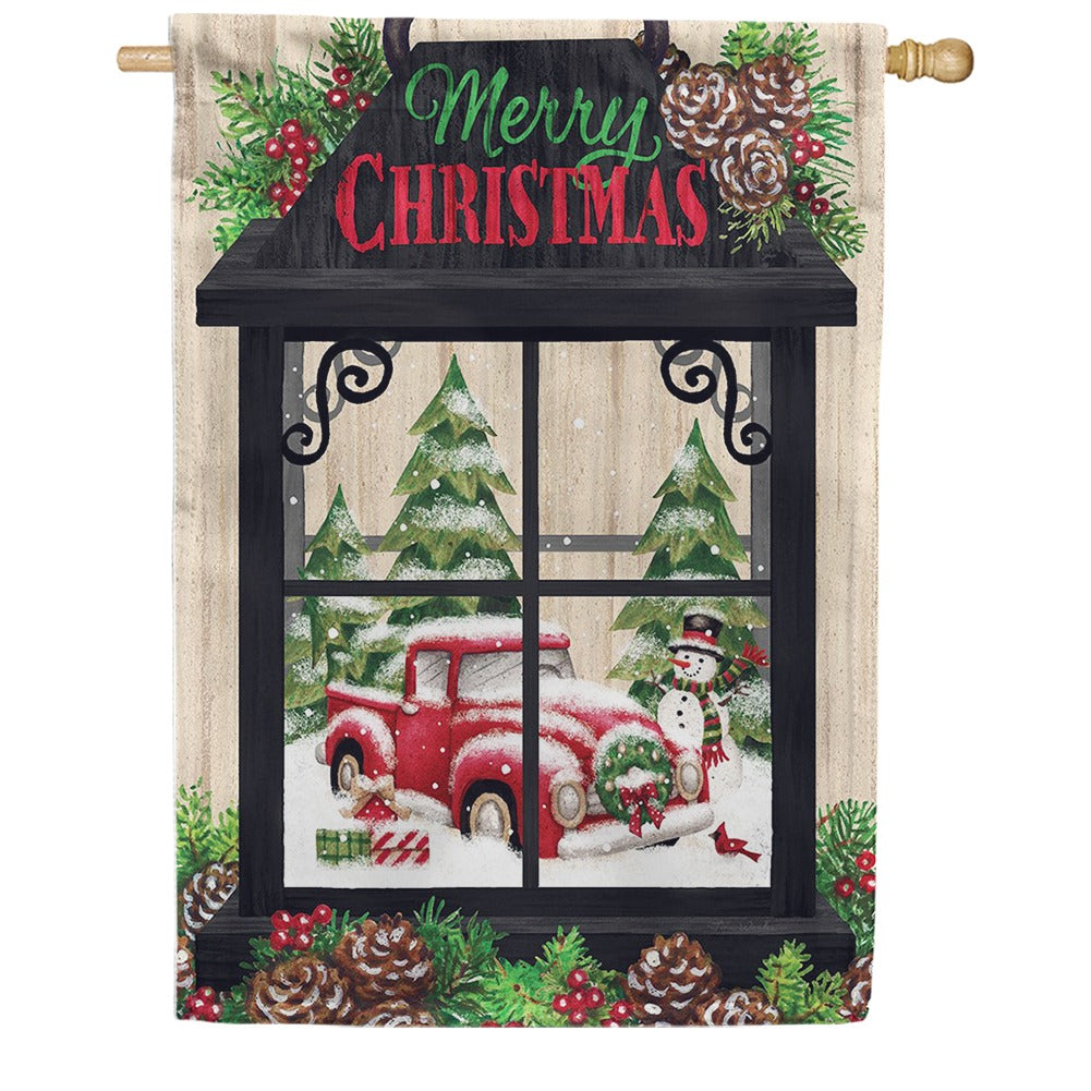 Christmas Lantern Merry Christmas Double Sided House Flag