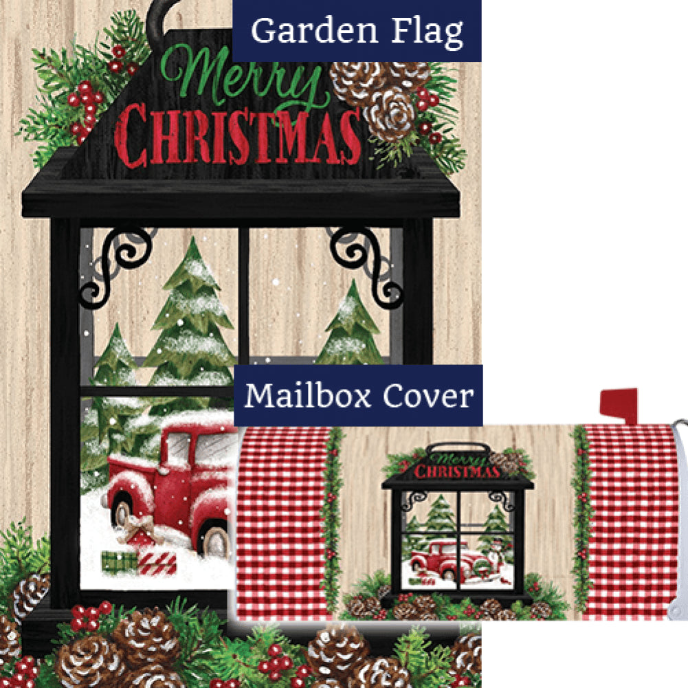 Christmas Lantern Merry Christmas Flag Mailwrap Set (2 Pieces)