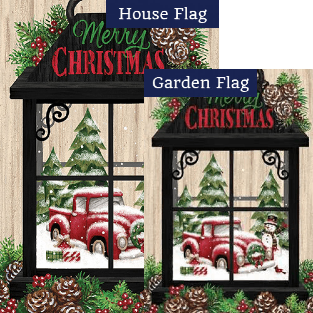 Christmas Lantern Merry Christmas Double Sided Flags Set (2 Pieces)